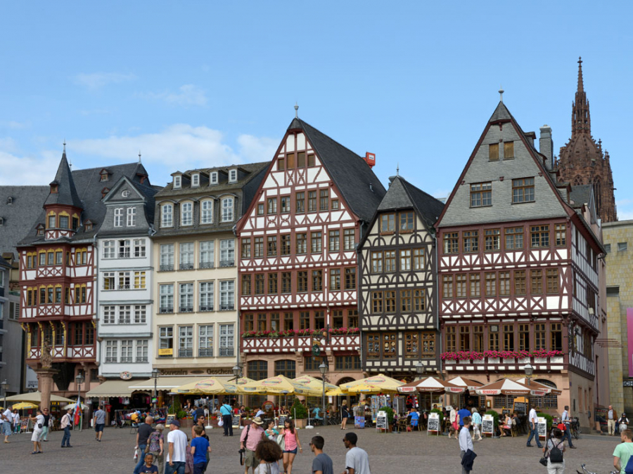 View of the half-timbered houses of the Ostzeile
