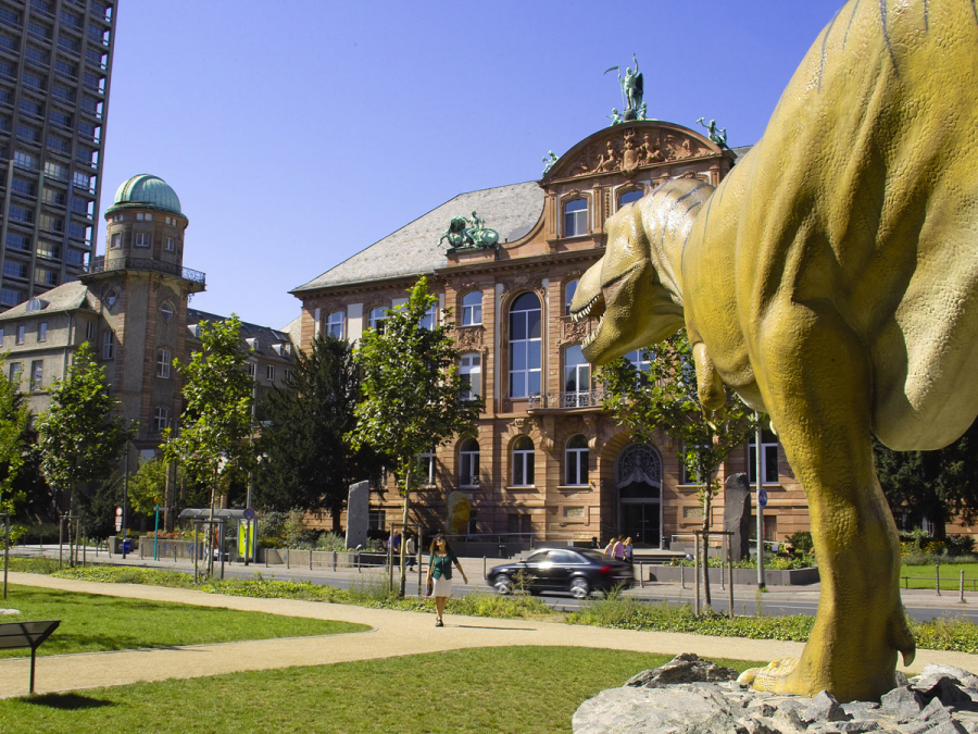 Outside view of the Senckenberg Museum of Natural History, a life-size monument of a dinosaur